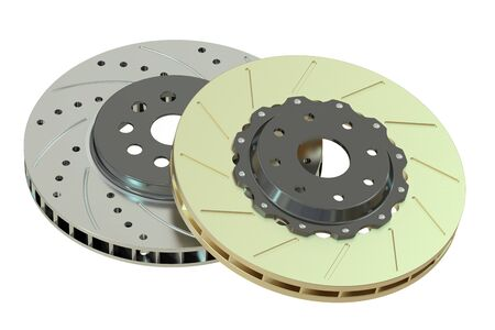 rotating parts: Car discs brake, 3D rendering isolated on white background Stock Photo