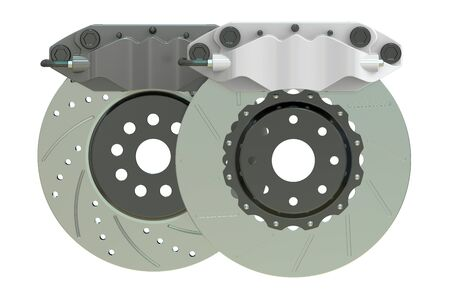 rotating parts: Car discs brake and caliper. 3D rendering isolated on white background