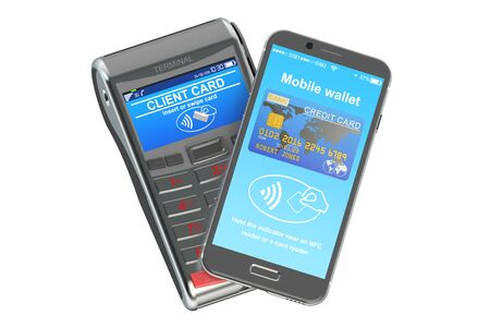 nfc: POS terminal with smartphone, NFC concept. 3D rendering Stock Photo
