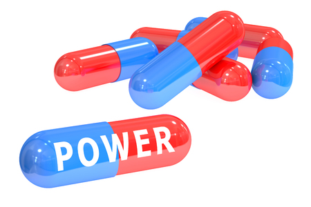 Power pills concept with pills, 3D rendering