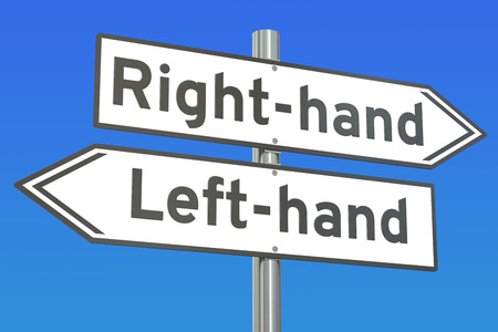 lefthand: right-hand or left-hand concept on the signpost, 3D rendering