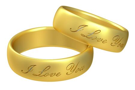 wedding rings: wedding rings, 3D rendering isolated on white background