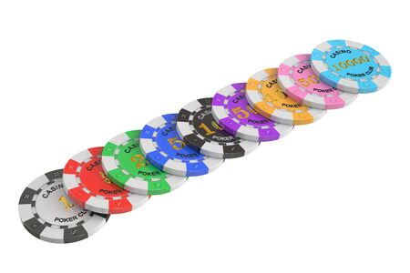 tokens: Casino tokens stack, 3D rendering isolated on white background