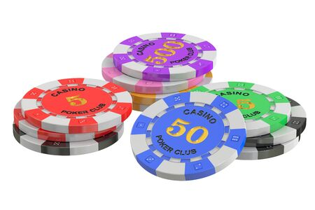 cheques: gaming chips, 3D rendering isolated on white background