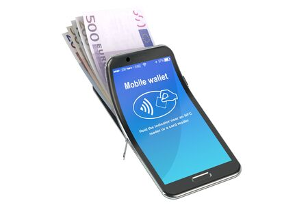 nfc: Money in the mobile phone, NFC concept. 3D rendering