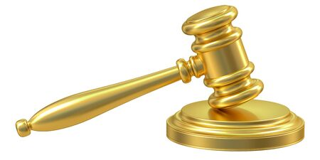 condemned: Golden Gavel, 3D rendering isolated on white background Stock Photo