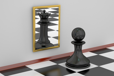 desires: Pawn looking in the mirror seeing queen, strategy concept. 3D rendering