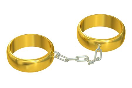 wedding ring: Wedding gold rings connected chain, 3D rendering Stock Photo