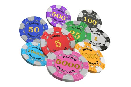 Casino tokens, 3D rendering isolated on white background