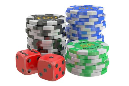cheques: casino chips and dice, 3D rendering isolated on white background Stock Photo