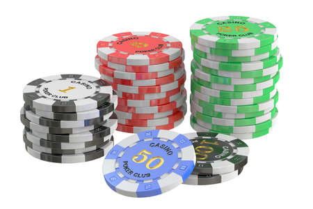 Casino Tokens stack, 3D rendering isolated on white background
