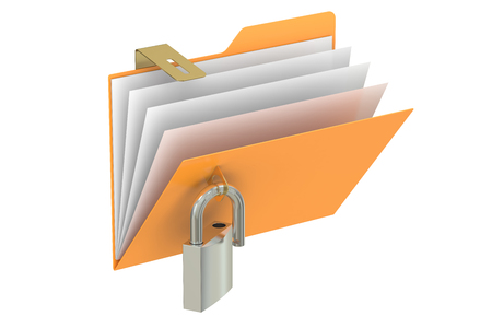 safest: Folder with opened padlock, 3D rendering isolated on white background Stock Photo