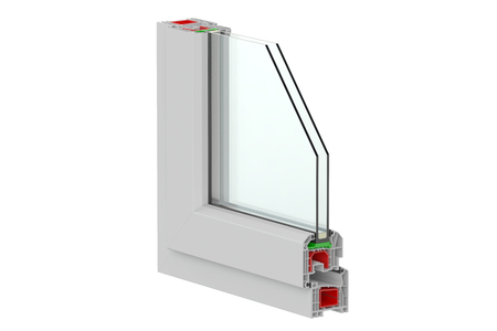 plastic window: Plastic Window profile, 3D rendering