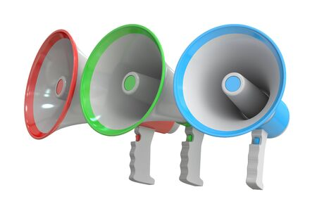 cut out device: set of megaphones, 3D rendering  isolated on white background