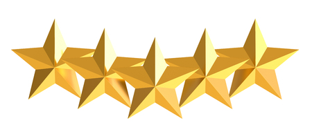 hotel reviews: Five golden stars, 3D rendering Stock Photo