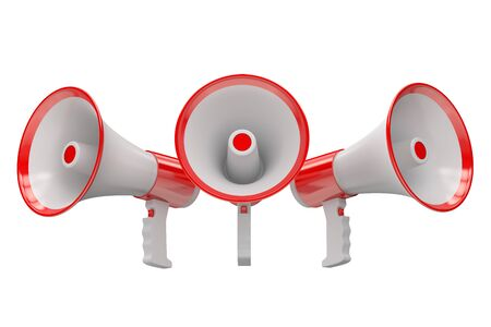 amplify: Megaphones, 3D rendering  isolated on white background Stock Photo