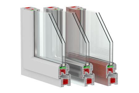 aluminium: Plastic Windows profiles, 3D rendering Stock Photo