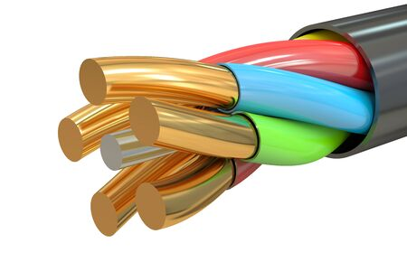 bare wire: cable, 3D rendering isolated on white background