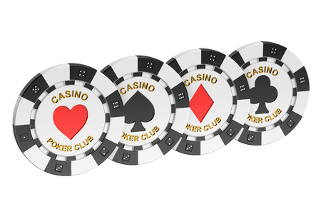 cheques: Casino Tokens, 3D rendering isolated on white background