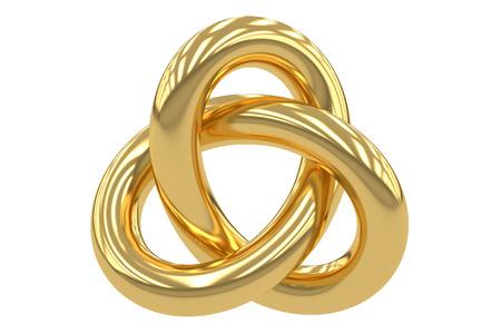황금 Trefoil 매듭, 흰색 배경에 고립 된 3D 렌더링