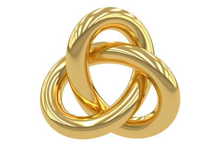Or Trefoil Knot, rendu 3D isolé sur fond blanc Banque d'images - 56506900