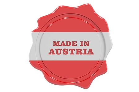 sealing: made in Austria seal, stamp. 3D rendering Stock Photo