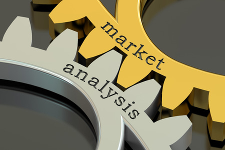 market analysis: Market Analysis concept on the gearwheels, 3D rendering Stock Photo