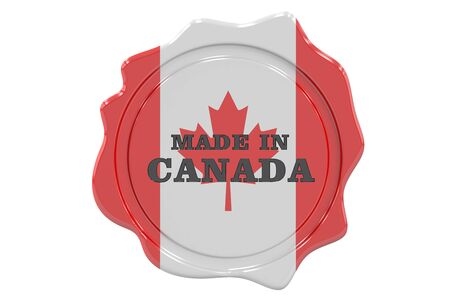 made to order: Seal Made in Canada, 3D rendering Stock Photo