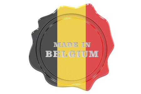 made to order: made in Belgium seal, stamp. 3D rendering Stock Photo
