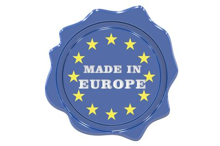 made to order: made in Europe seal, stamp. 3D rendering Stock Photo