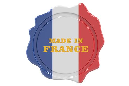 made to order: made in France seal, stamp. 3D rendering