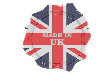 made to order: made in United Kingdom seal, stamp. 3D rendering