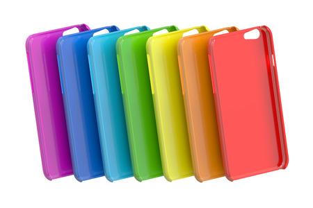 Multicolor Handy Plastik Fällen. 3D-Rendering