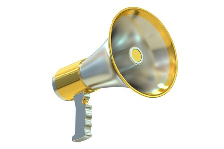 Megaphone, 3D rendering  isolated on white background Stock Photo