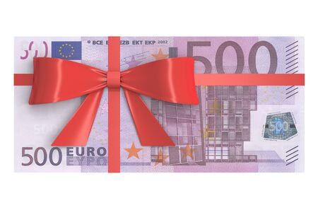 wad: Wad of 500 Euro banknotes with red bow, gift concept. 3D rendering