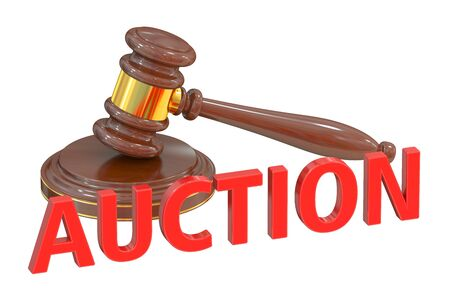 verdicts: Auction concept with wooden gavel, 3D rendering Stock Photo
