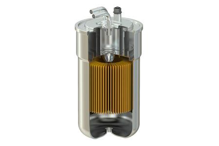 Filtro carburante spaccato, rendering 3d isolato su sfondo bianco