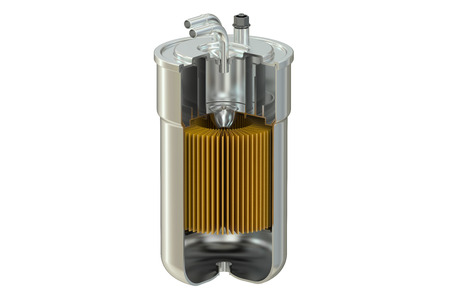 Filtro de corte de combustible, representación 3D aislada en el fondo blanco
