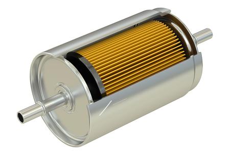 Fuel Filter cutaway, 3D rendering