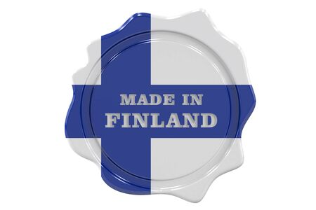 made to order: made in Finland seal, stamp. 3D rendering