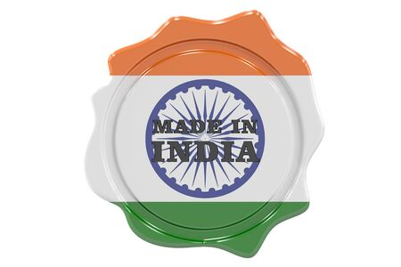 made to order: made in India seal, stamp. 3D rendering