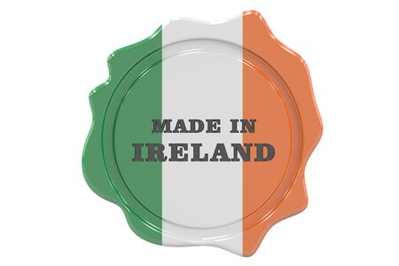 made to order: made in Ireland seal, stamp. 3D rendering