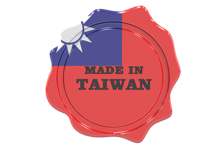 made to order: made in Taiwan seal, stamp. 3D rendering