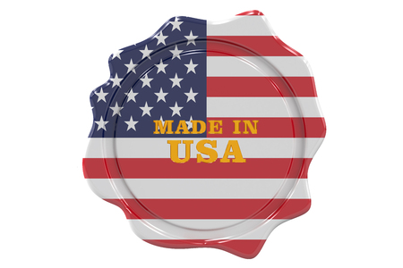 made to order: made in USA seal, stamp. 3D rendering