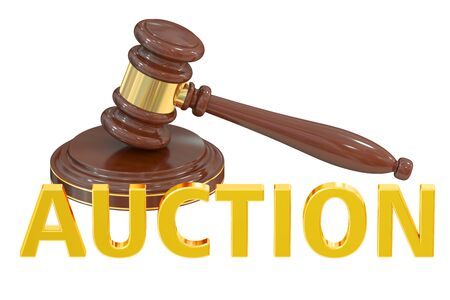 online bidding: Auction concept with wooden gavel, 3D rendering Stock Photo
