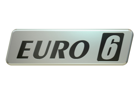 co2: Euro 6 concept, 3D rendering isolated on white background