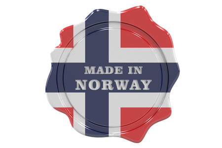 made to order: made in Norway seal, stamp. 3D rendering