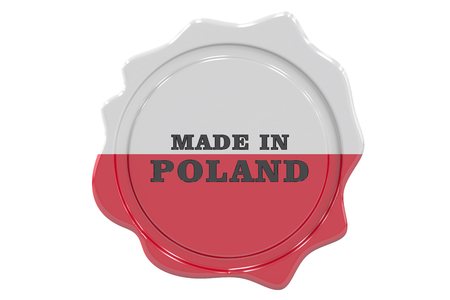 made to order: made in Poland seal, stamp. 3D rendering Stock Photo
