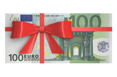 wad: Wad of 100 Euro banknotes with red bow, gift concept. 3D rendering Stock Photo