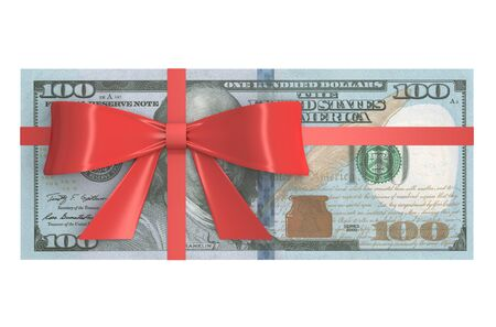 wad: Wad of 100 Dollars banknotes with red bow, gift concept. 3D rendering